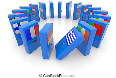 domino effect - dominoes with the flags of the eurozone...