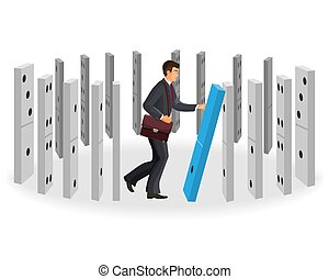 Domino effect visualization with businessman in classic suit...