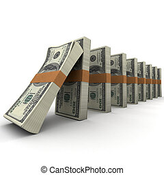 Domino effect with money - Domino effect with stacks of...