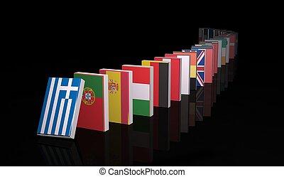 domino, européen, crise, 3d