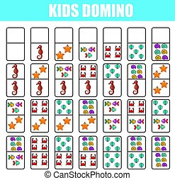 Domino for kids. Children educational game. Printable activity, board game