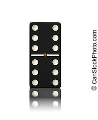 Domino game bone close up isolated on white