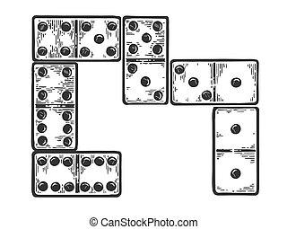 Domino game play bones engraving vector illustration....