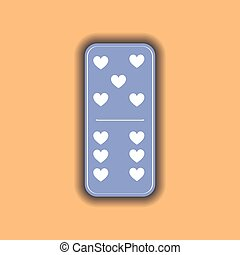 Domino heart. five and six on the isolated background