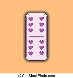 Domino heart. six and on the isolated background