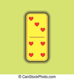 Domino heart. three and four on the isolated background