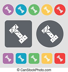 domino icon sign. A set of 12 colored buttons. Flat design. Vector