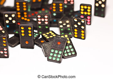 domino on paper background