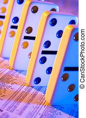 domino, op, voorraadrapport