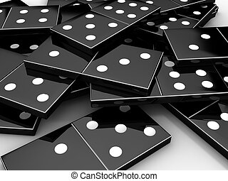 Scattered black shiny bones dominoes on light background