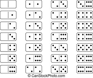 Domino set board game with white background