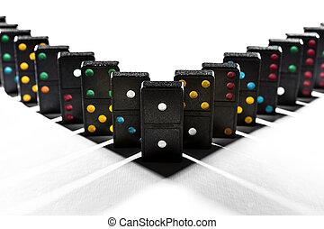 Shadows between domino blocks create symmetry
