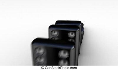 domino, spadanie, cegły
