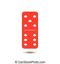 Domino spade. five and six on the isolated background
