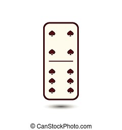 Domino spade. four and six on isolated background