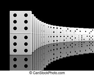 Domino - 3d render of white domino blocks over black...
