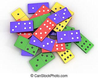 Domino - Scattered colored shiny bones dominoes on light...