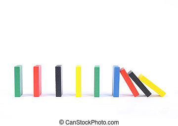 domino - a row of color domino with white background