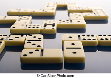 Domino on blue background