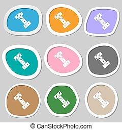 domino symbols. Multicolored paper stickers. Vector