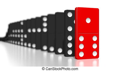 domino, tegels, een, black , het vallen, stuk, rood, 3d