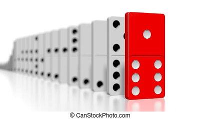 domino, tegels, een, het vallen, stuk, wit rood, 3d