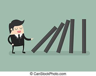 Domino - Businessman toppling dominoes. Domino effect.