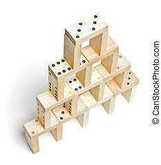 Dominoes building isolated on the white background - ...