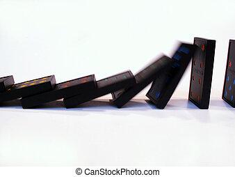 dominoes falling - falling dominoes
