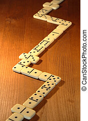 Dominoes Game - Long line made from dominoes on wooden ...