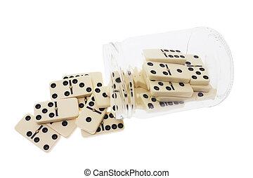 Dominoes in Glass Jar