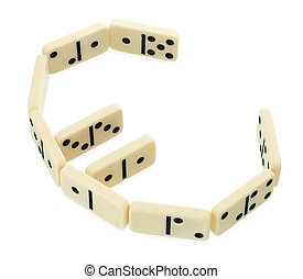 Dominoes in shape of euro currency symbol isolated on white ...
