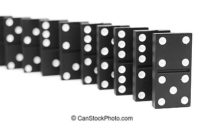 dominoes., ligado, um, branca, experiência.