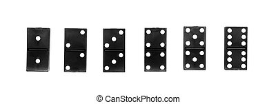 Dominoes on a white background.