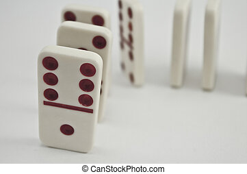 Dominoes set up to fall