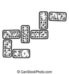 Dominoes tile games. Apparel print design. Scratch board ...