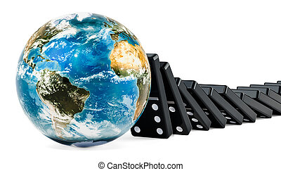 Dominoes tiles falling on to the Earth Globe, 3D rendering