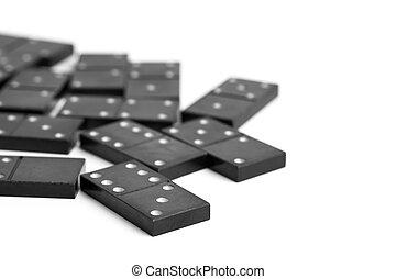 Dominoes top view. Black domino figures.
