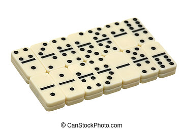 Dominoes - white dice on a white background