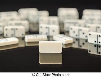 dominos, domino, blanc, unique, vide