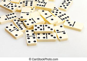 dominos, fin, blanc, dispersé, haut