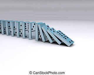 Dominos in motion - A queue of falling chrome dominoes