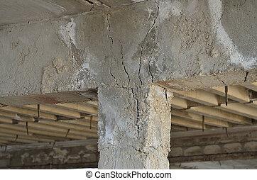 dommages tremblement terre, colonne
