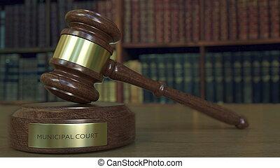 dommer gavel, og, blokken, hos, kommunale, gårdsplads, inscription., 3, gengivelse