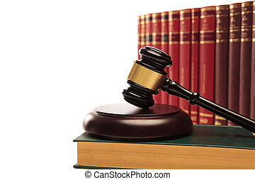 dommer gavel, på, en, juridisk bog