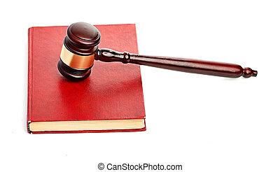dommer gavel, på, rød, lovlig, bog