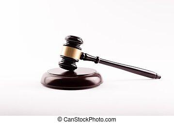 dommer, gavel, -, symbol, i, lov, isoleret