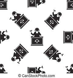 dommer, mønster, seamless, illustration, baggrund., vektor, gavel, hvid, ikon