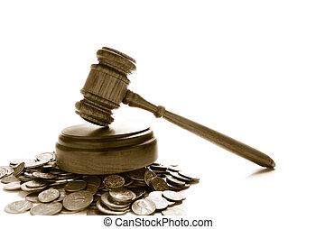 dommere, lov, gavel, på, en, stabel, i, mønter, hen, hvid