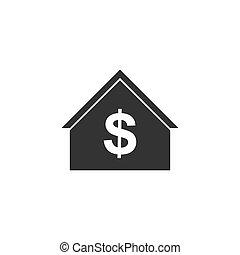 domowa ikona, dolar, płaski